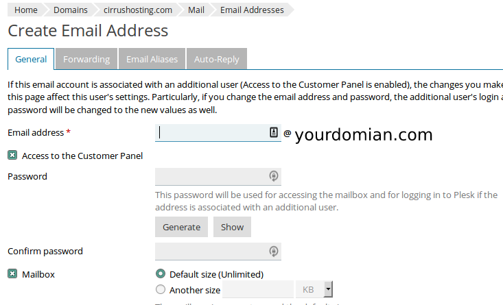 HostBill - How do I create email addresses under my domain? - Cirrus